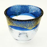和がらす温(おん) 酒杯 藍・金箔 42140TS-G-WSHB