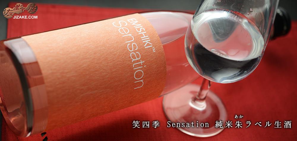 ◇笑四季 Sensation 純米朱(あか)ラベル生酒 720ml