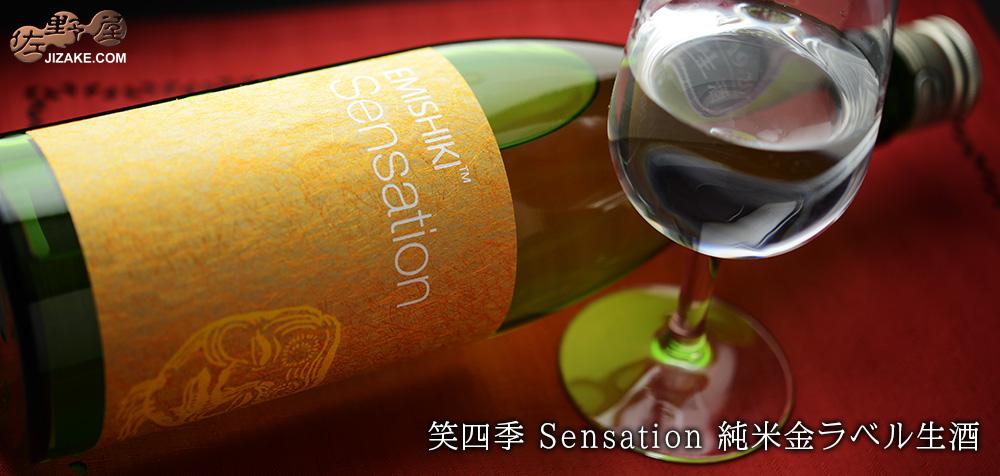 ◇笑四季 Sensation 純米金ラベル生酒 2019-20 1800ml